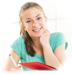 Teenage students studying foreign language